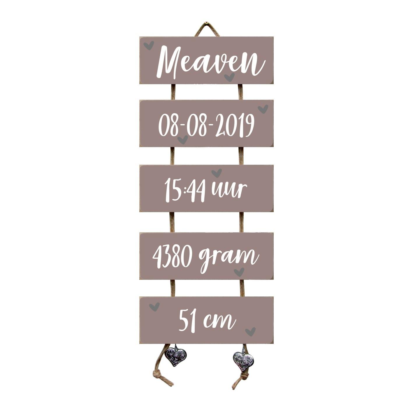 Kraamcadeau Geboorteladder Meaven Heart Wood flexa