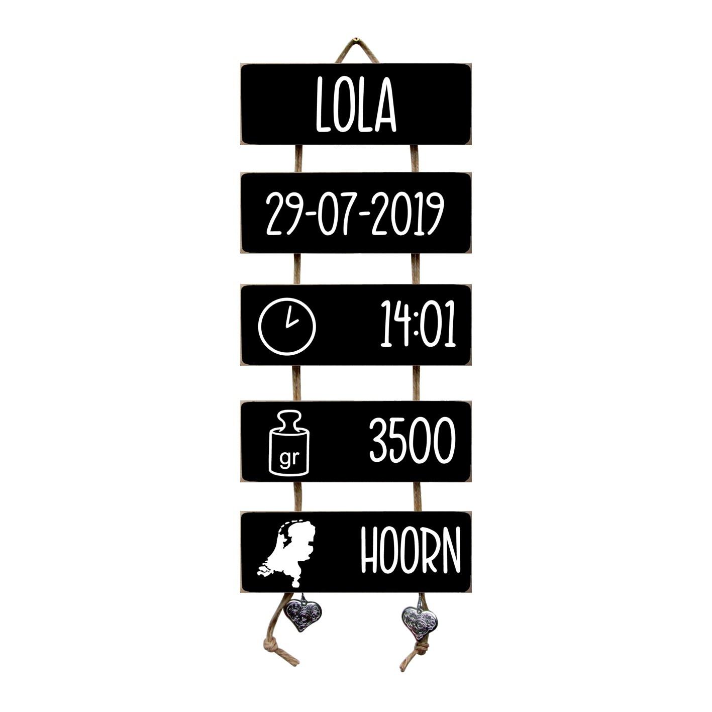 Kraamcadeau Geboorteladder Lola Zwart