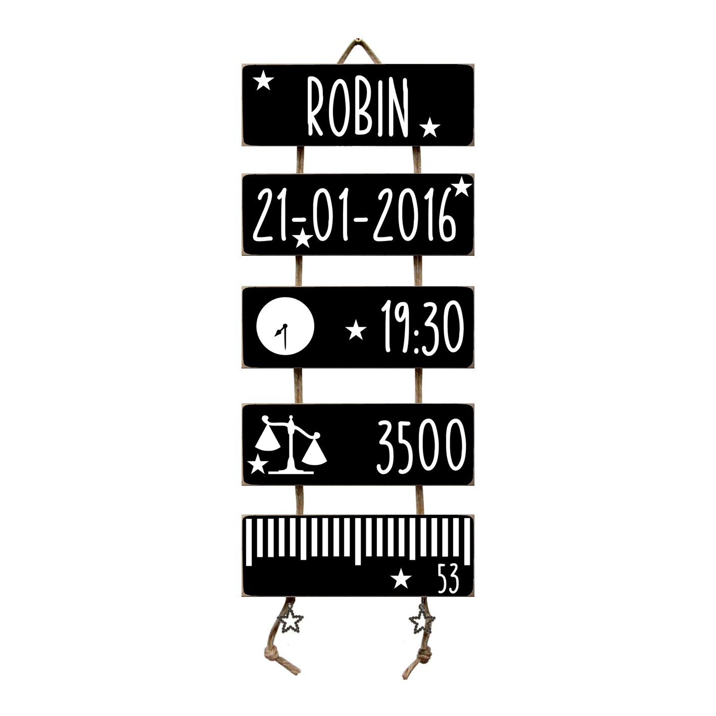 Kraamcadeau Geboorteladder Robin Zwart