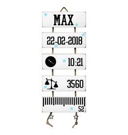 Geboorteladder Max wit  kraamcadeau