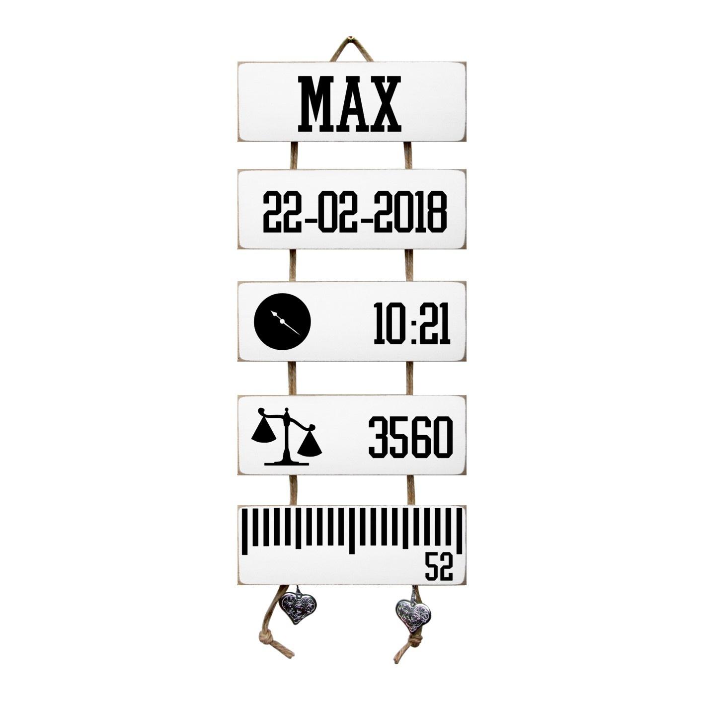 Kraamcadeau Geboorteladder Max wit