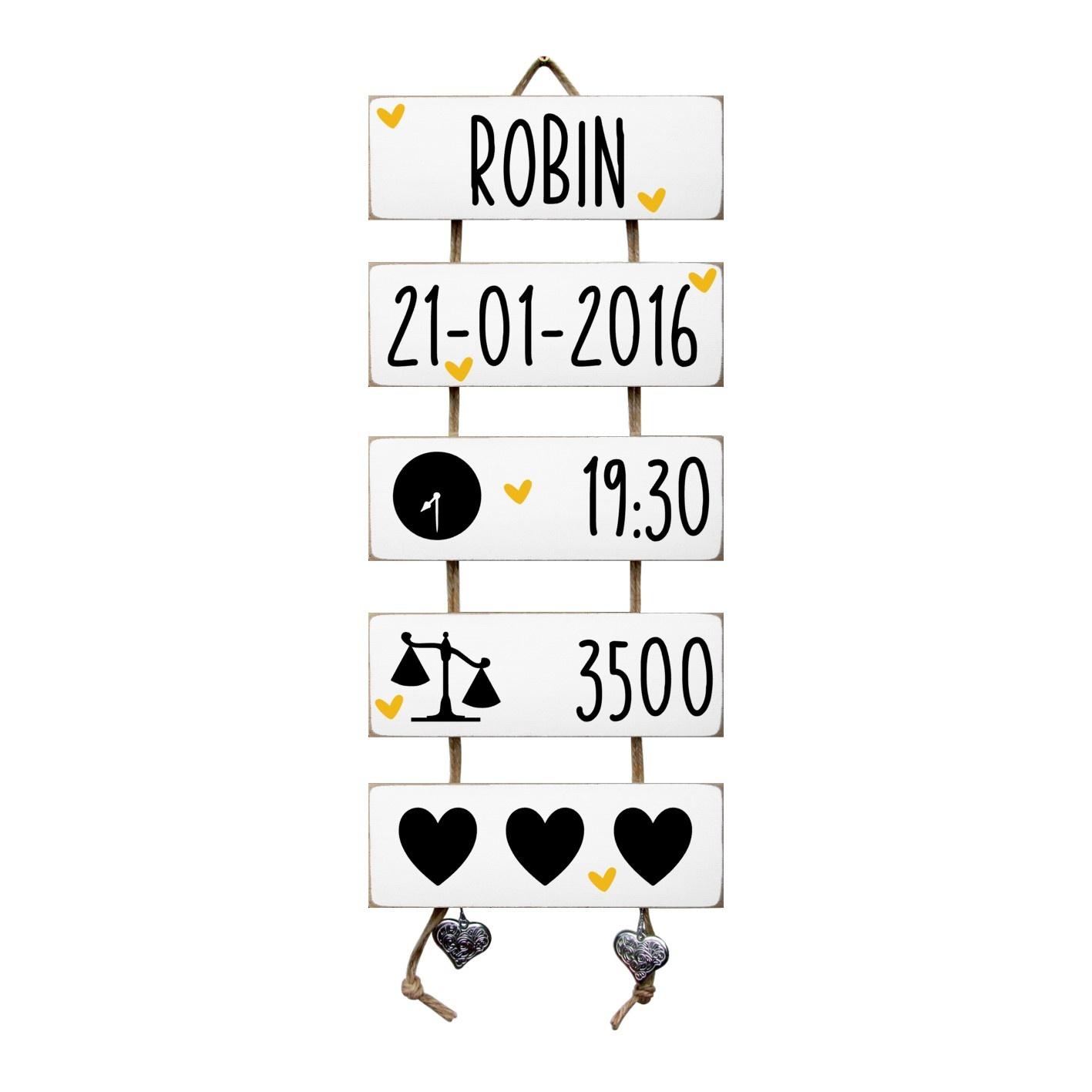 Kraamcadeau Geboorteladder Robin wit