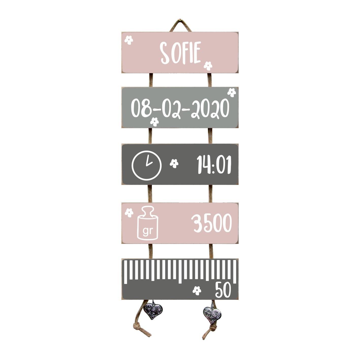 Kraamcadeau Geboorteladder Sofie lichtroze /grijs