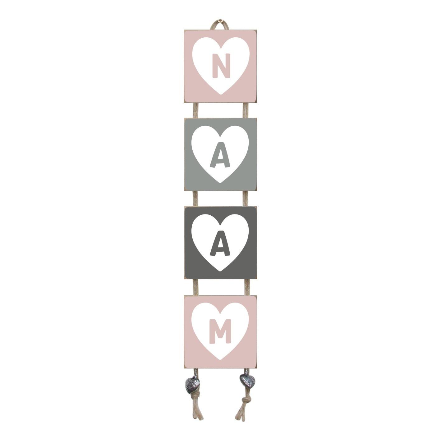 Naamladder lichtroze/grijstinten hart