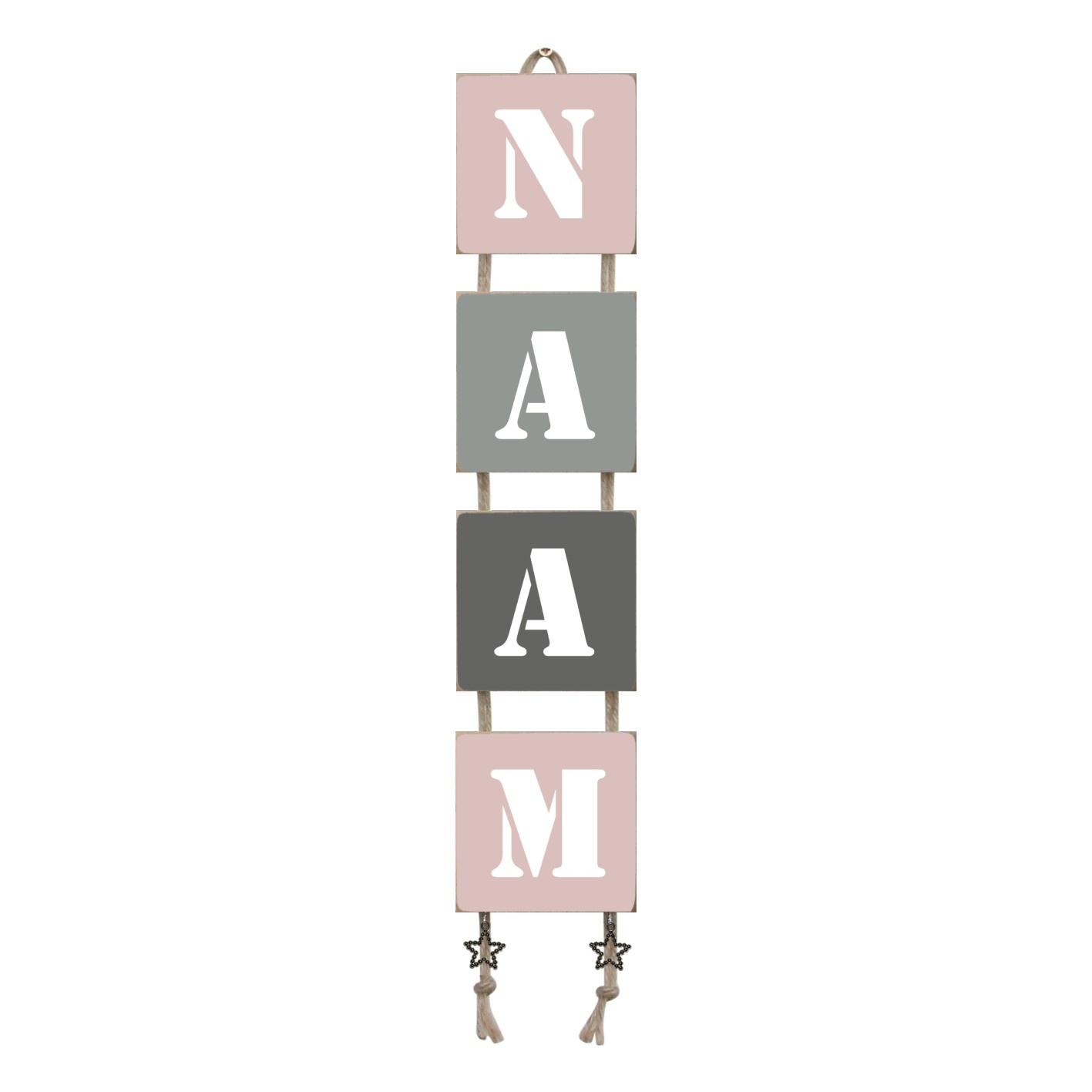 Naamladder lichtroze/grijstinten stencil