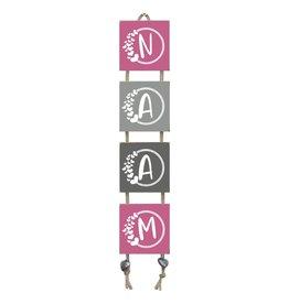 Naamladder roze/grijstinten hartjes letter
