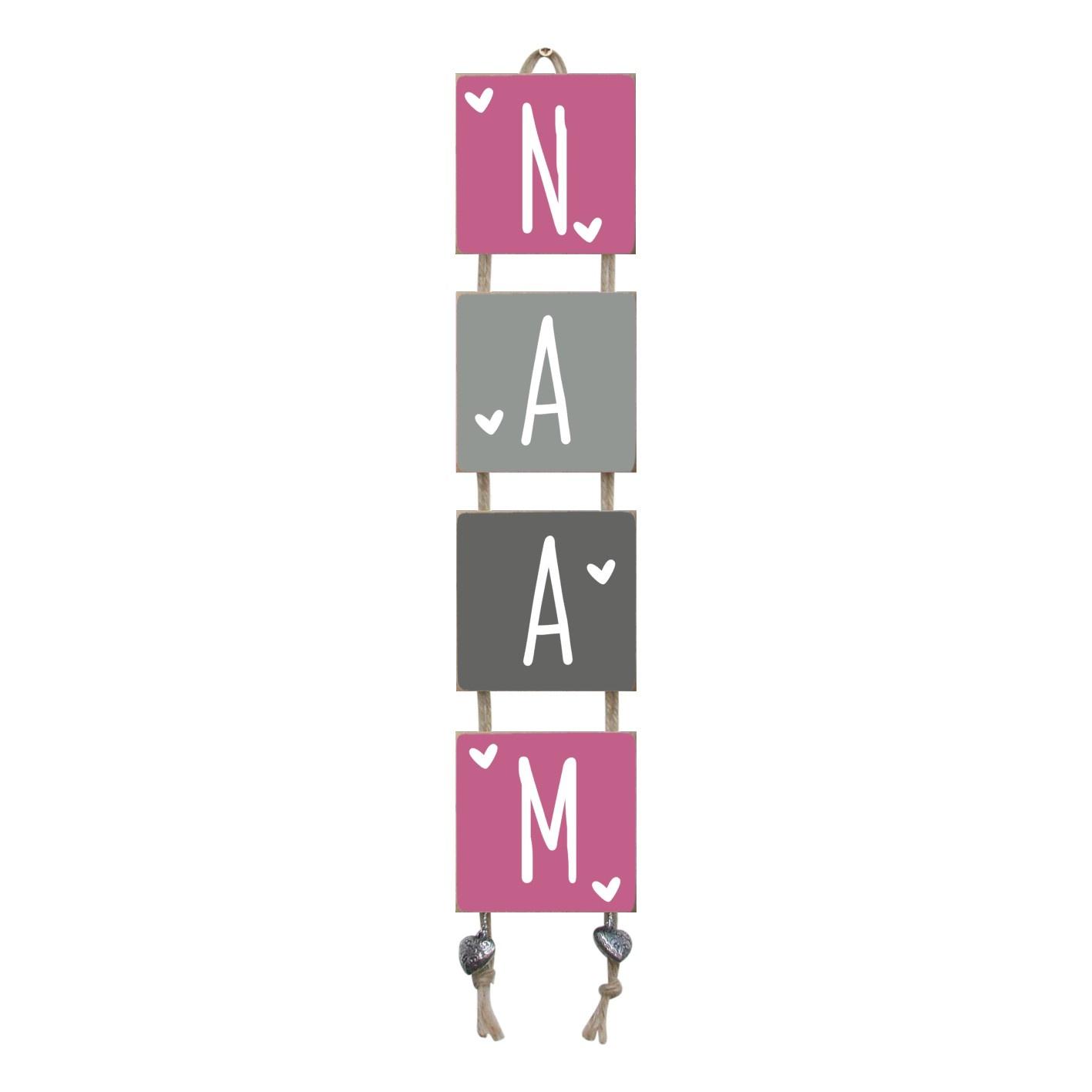 Naamladder roze/grijstinten hartjes