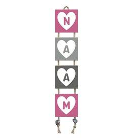 Naamladder roze/grijstinten hart