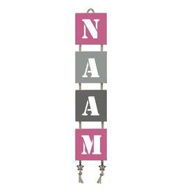 Naamladder roze/grijstinten stencil