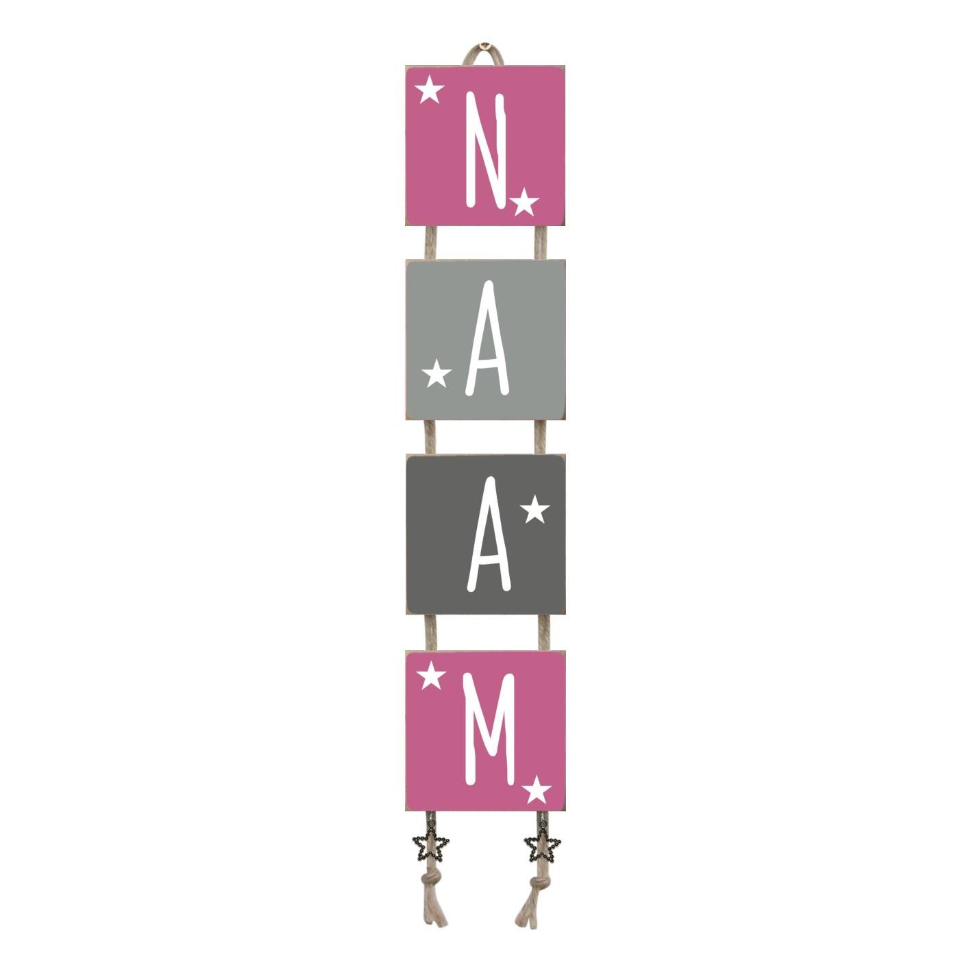 Naamladder roze/grijstinten sterren