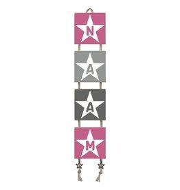 Naamladder roze/grijstinten ster