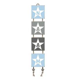 Naamladder lichtblauw/grijstinten ster