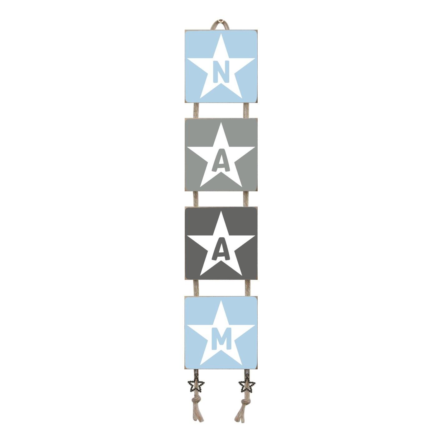 Naamladderlichtblauw/grijstinten stencil