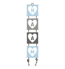 Naamladder lichtblauw/grijstinten hart