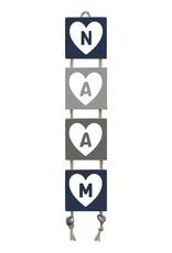 Naamladder donkerblauw/grijstinten hart