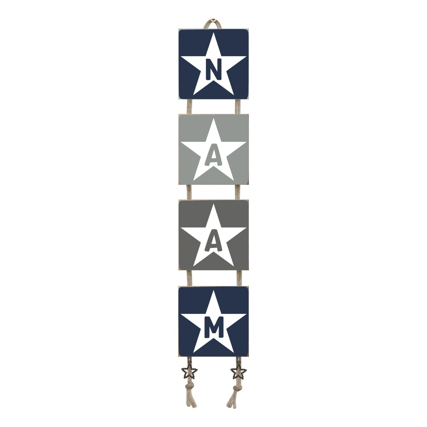 Naamladder donkerblauw/grijstinten ster