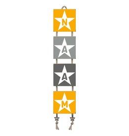 Naamladder okergeel/grijstinten ster