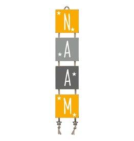 Naamladder okergeel/grijstinten sterren