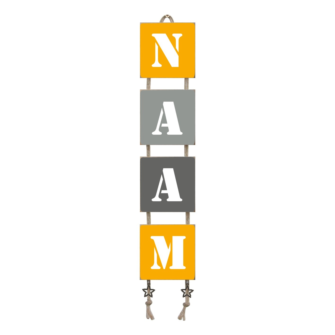 Naamladder okergeel/grijstinten stencil