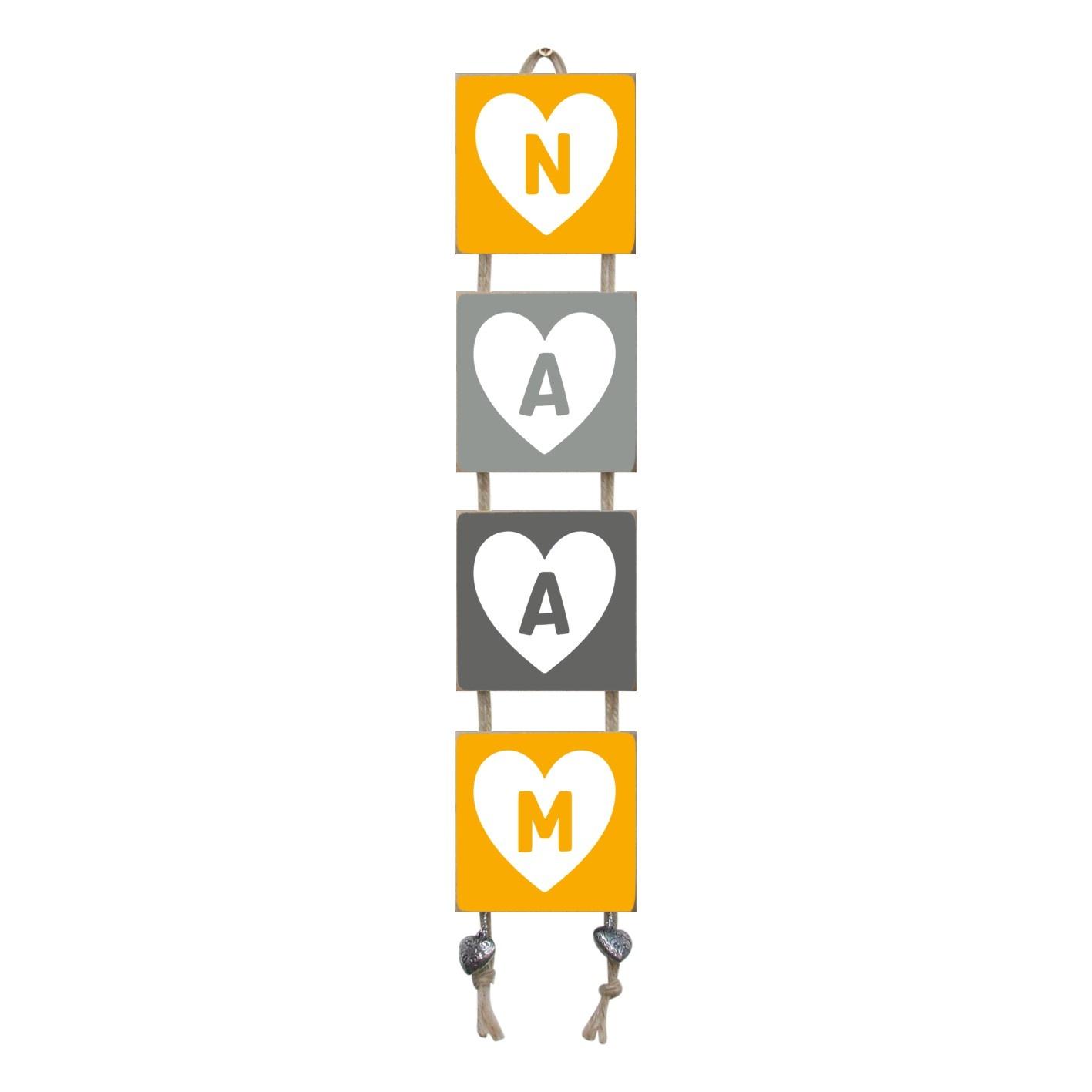 Naamladder okergeel/grijstinten hart