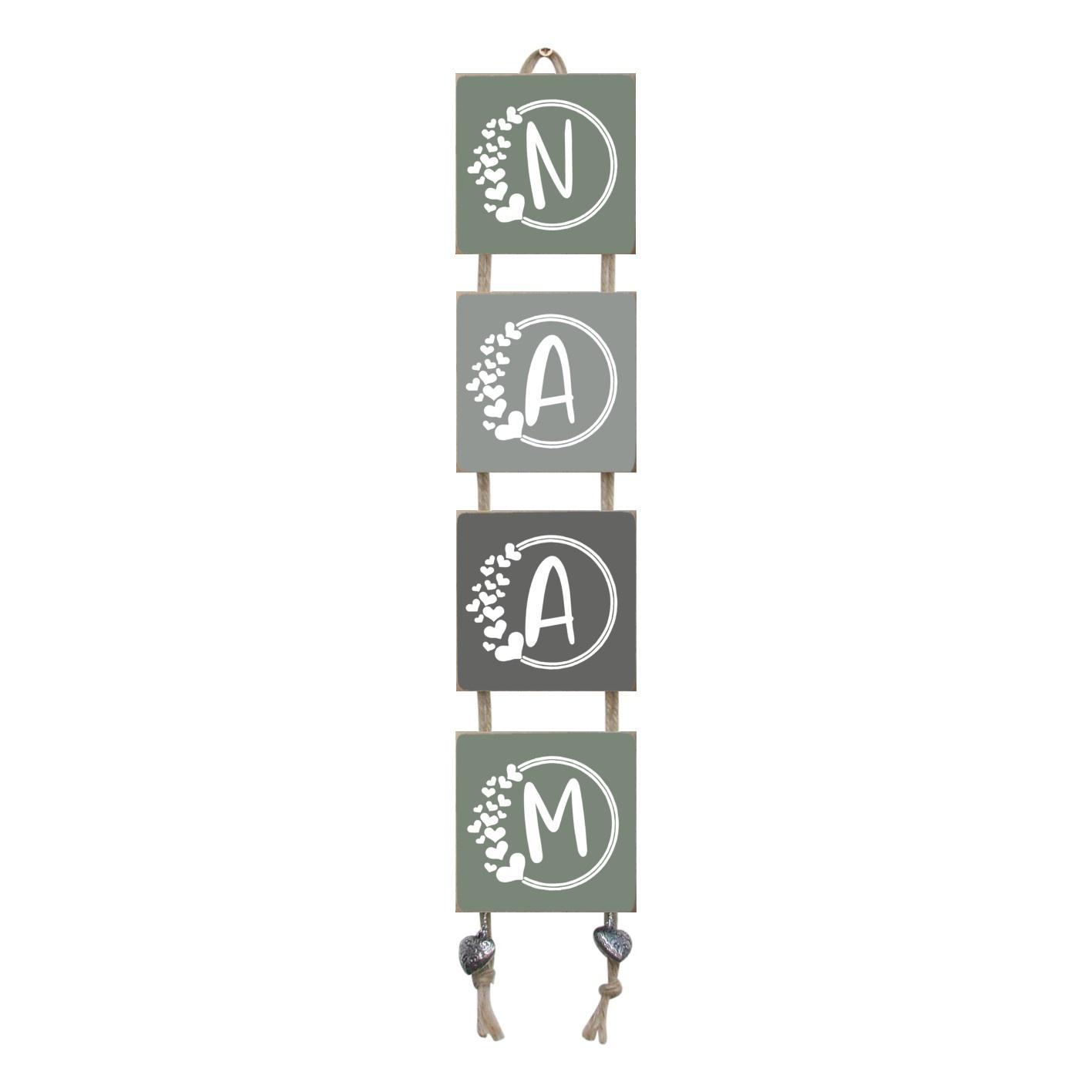 Naamladder leemgroen/grijstinten hartjes letter