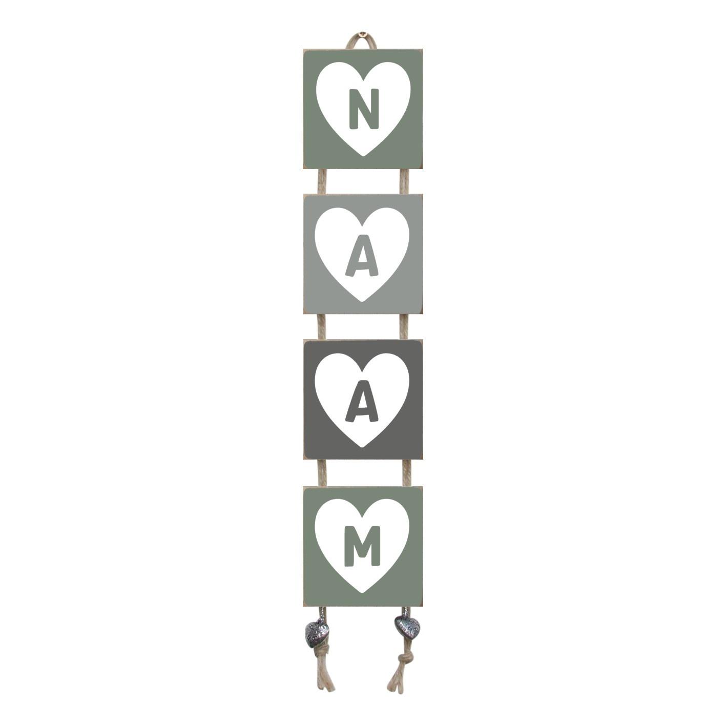 Naamladder leemgroen/grijstinten hart