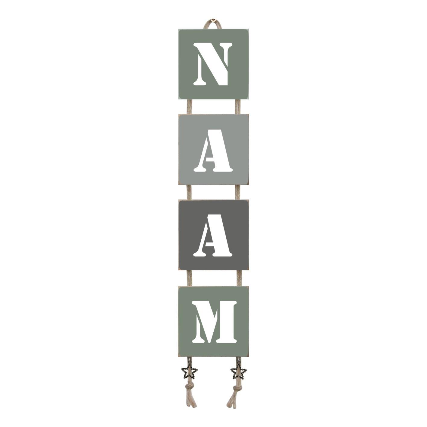 Naamladder leemgroen/grijstinten stencil