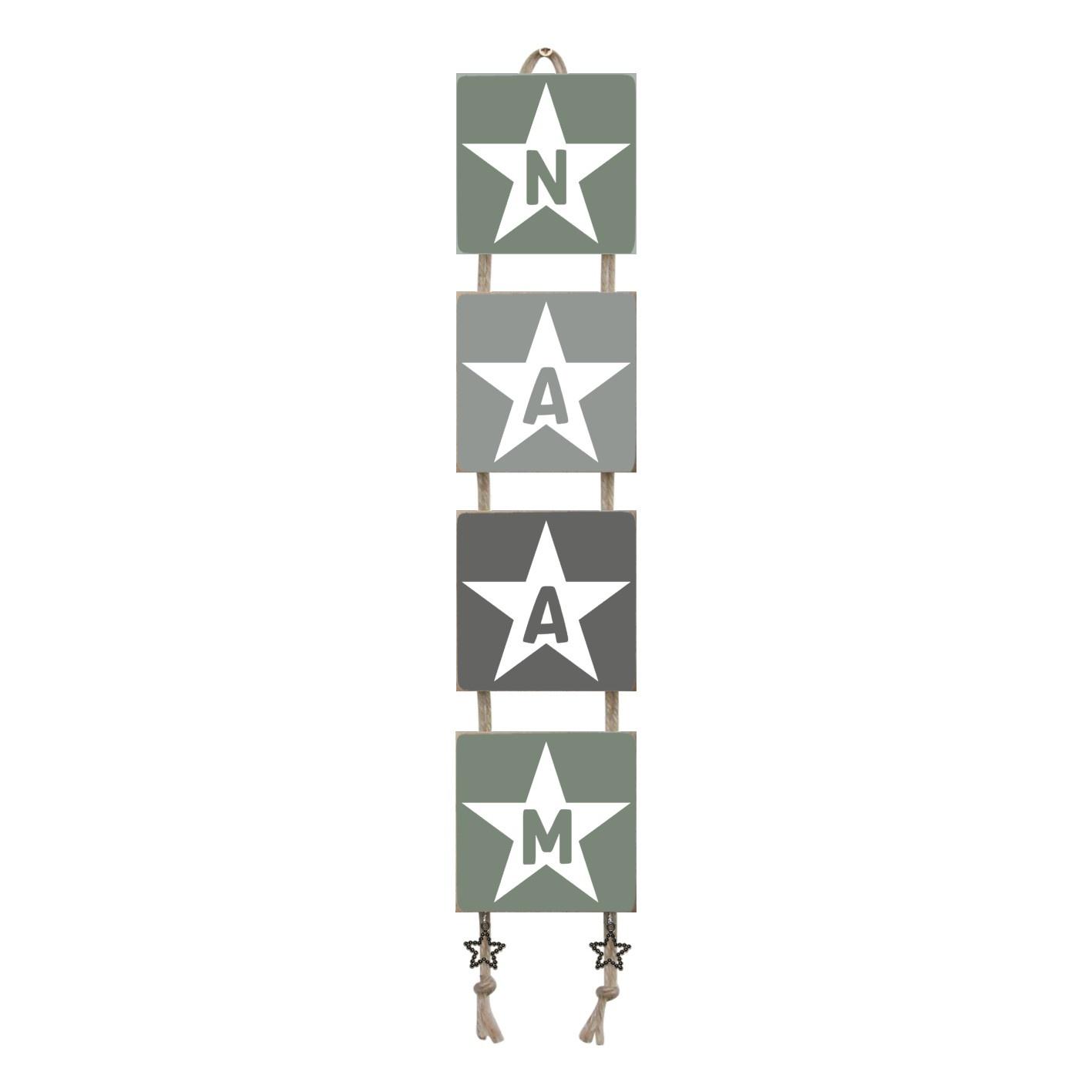 Naamladder leemgroen/grijstinten ster
