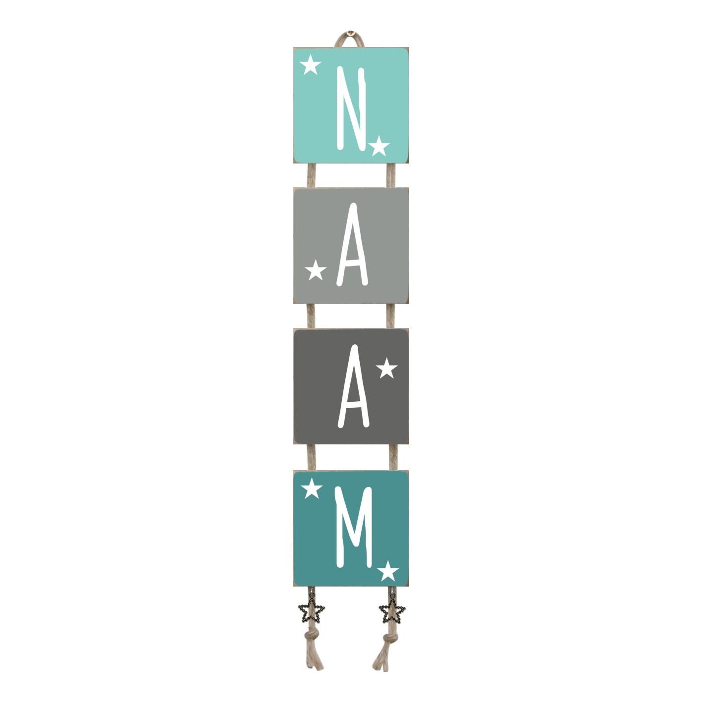 Naamladder mintgroen/grijstinten sterren