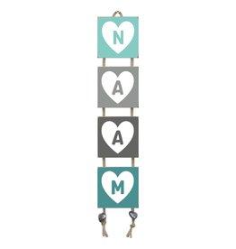 Naamladder mintgroen/grijstinten hart