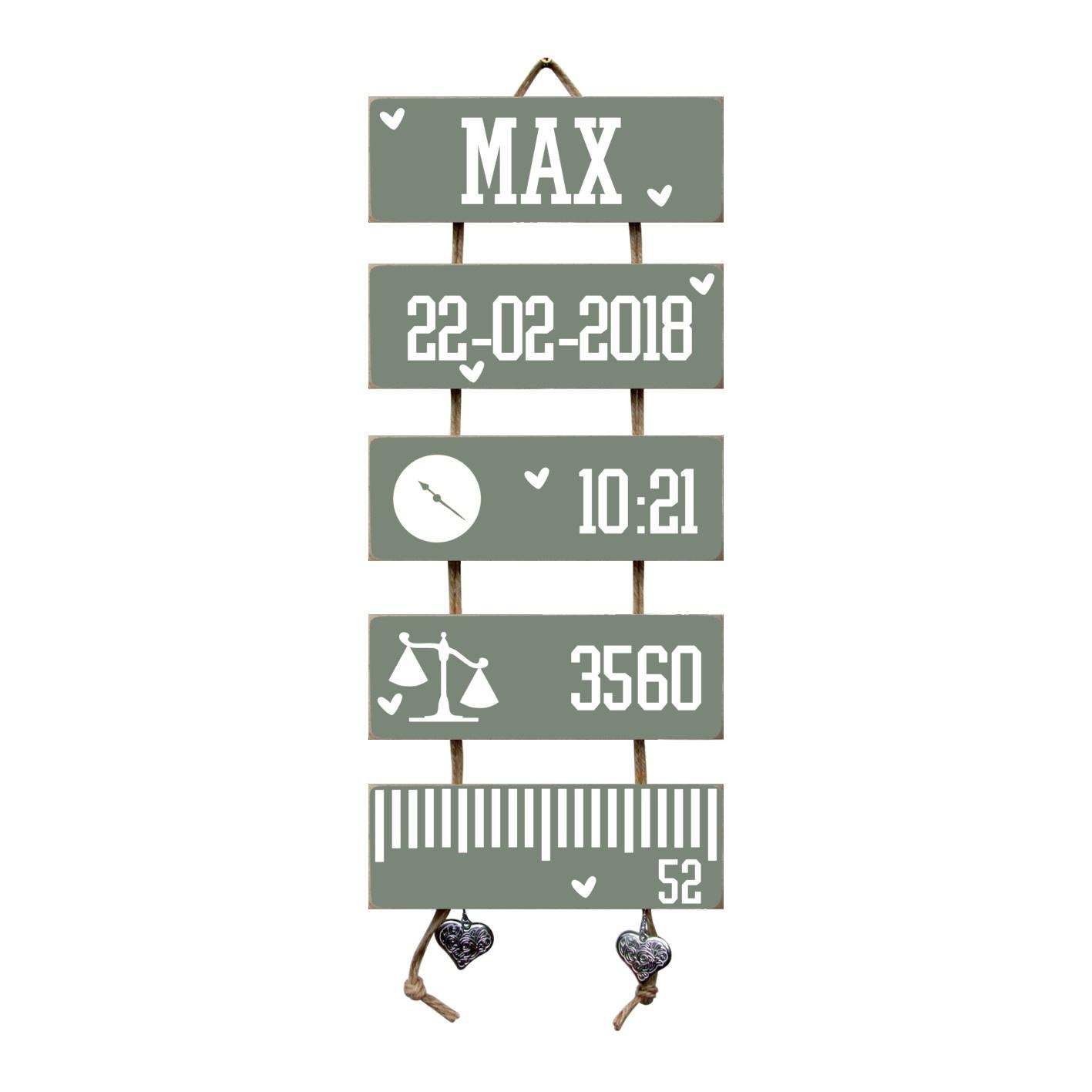 Kraamcadeau Geboorteladder Max Leemgroen