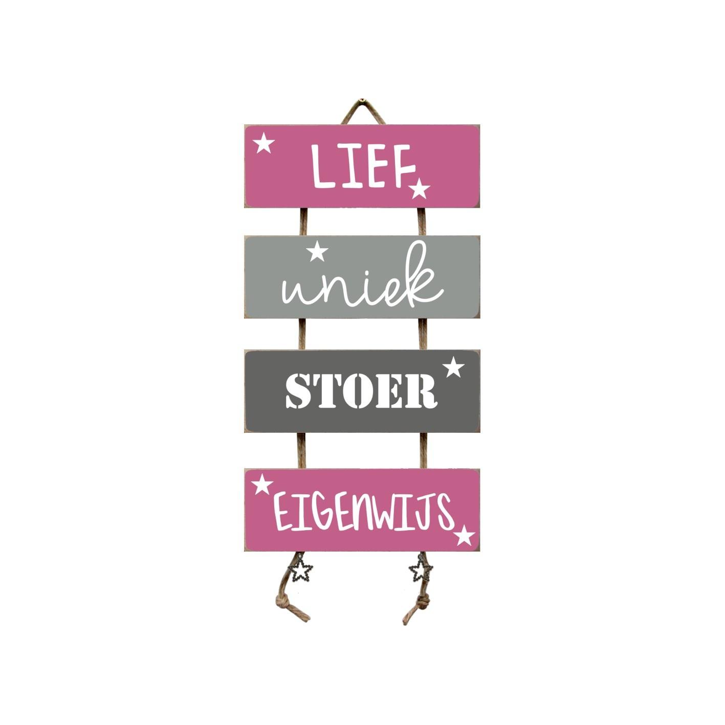 Tekstladder Roze/grijs Lief Uniek Stoer Eigenwijs