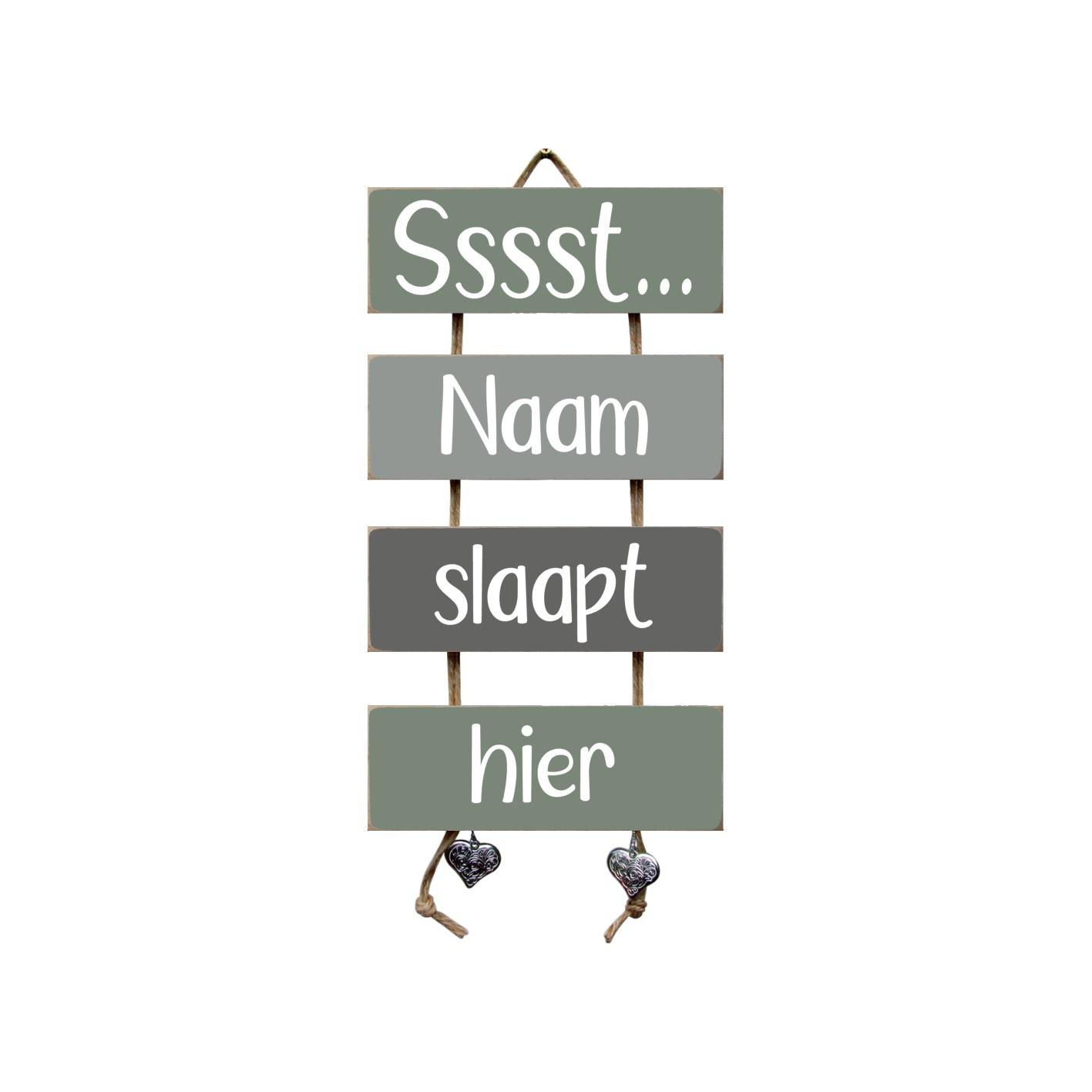 Tekstladder Leemgroen/grijs Ssst