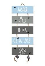 Trouwladder  Bruidspaar Lichtblauw/Grijs Huwelijkscadeau