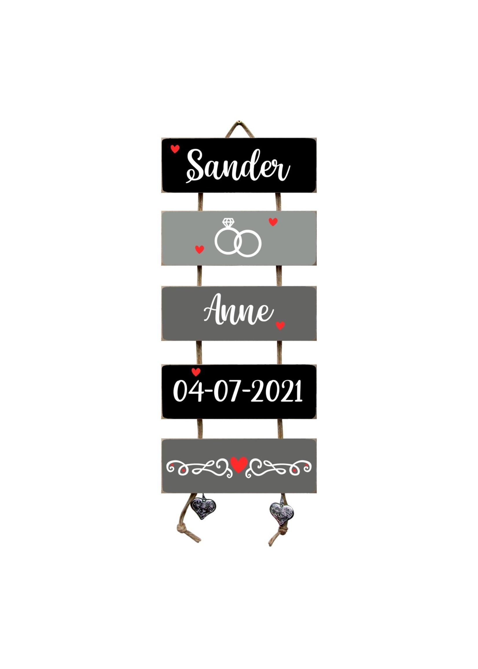 Trouwladder  Hart Zwart/Grijs huwelijkscadeau