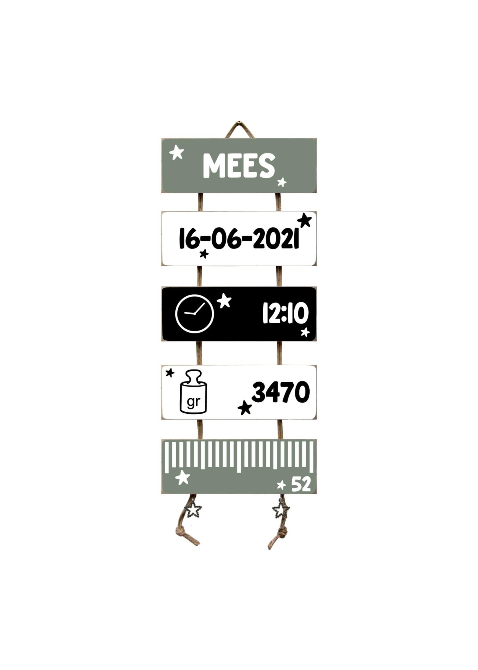 Kraamcadeau Geboorteladder  Mees Zwart/Wit/Leemgroen