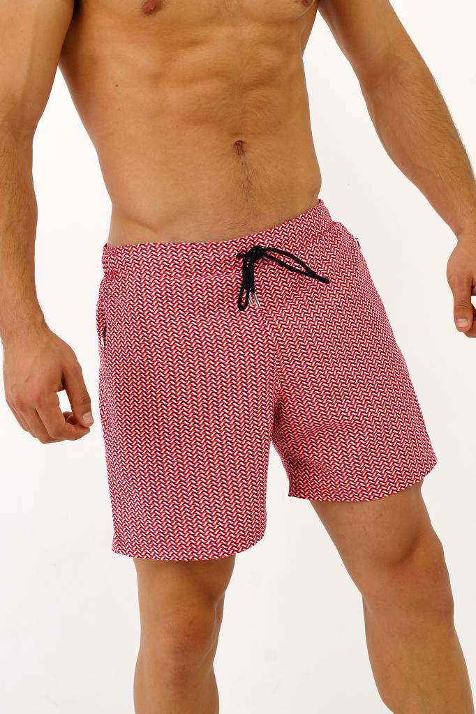 Arpione White Tip Mid-length Swim Short - Coral Waves