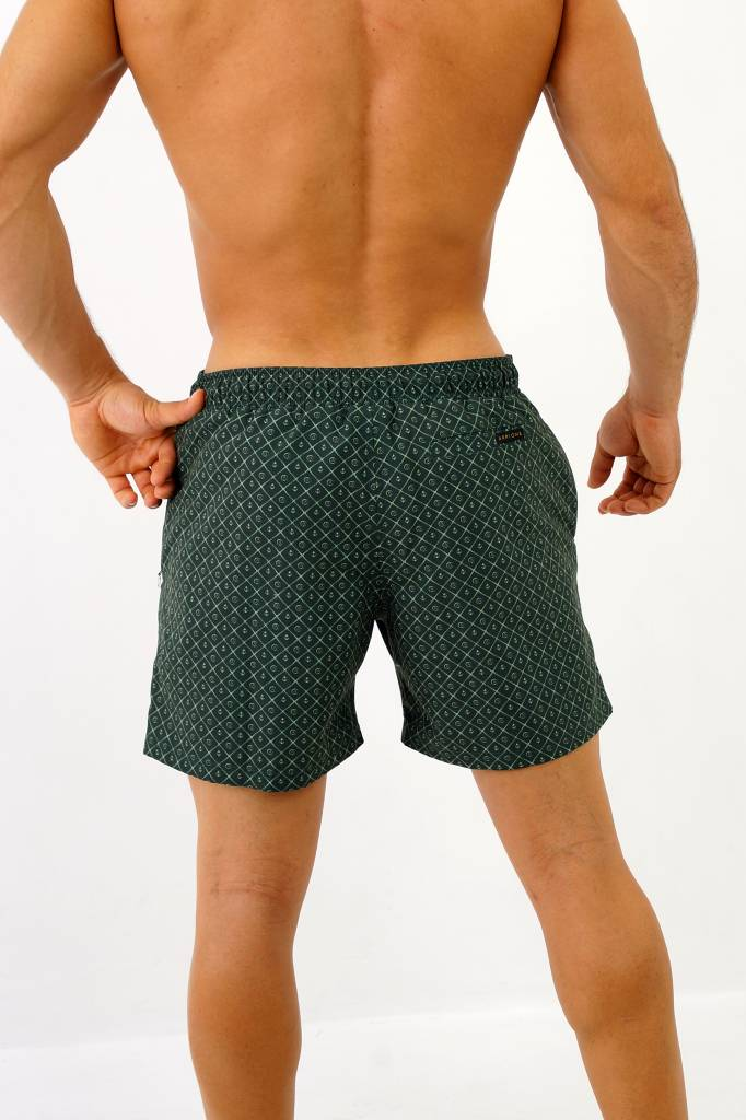 Arpione White Tip Mid-length Swim Short - Racing Green