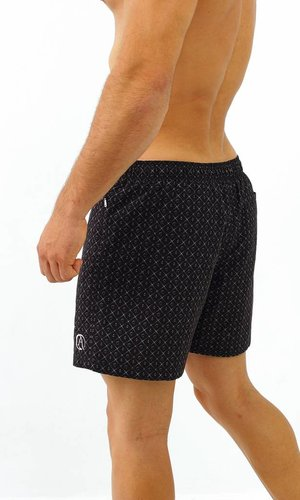 Arpione White Tip Swim short - Squid black print
