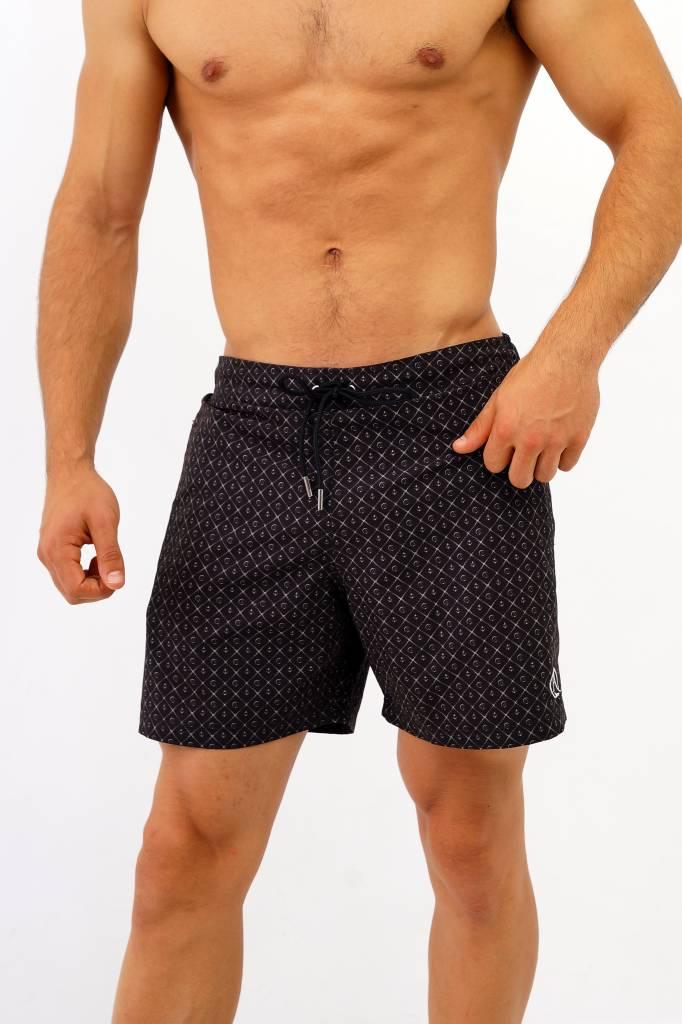 Arpione White Tip Mid-length Swim Short - Squid black print