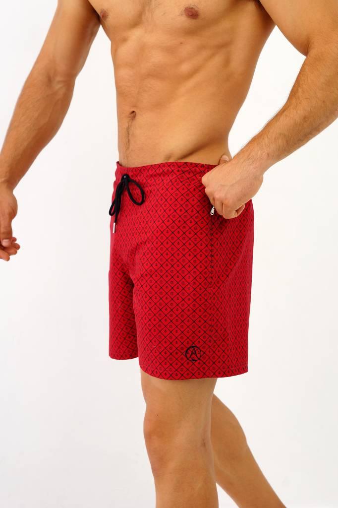 Arpione White Tip Mid-length Swim Short - Burgundy