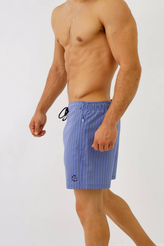 Arpione White Tip Mid-length Swim Short - Ocean Waves