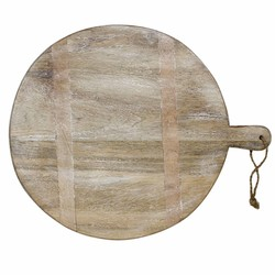 At Home with Marieke Round Wooden Serving Tray 35cm Whitewash