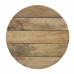 At Home with Marieke Wooden Serving Tray Round Natural 55cm