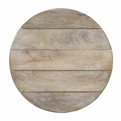 At Home with Marieke Wooden Serving Tray Round Whitewash 55cm