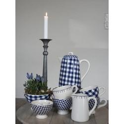At Home with Marieke Theeset Blauw, theepot, 4 kopjes, melkkan, suikerkom