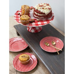 At Home with Marieke At Home with Marieke voordeel set taart plateau en bordjes rood -