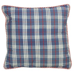 At Home with Marieke Cushion 50x50cm, blue fruit / natural stripe