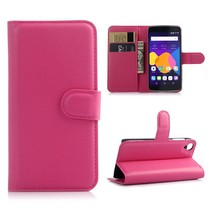 Roze lychee Bookcase hoes Alcatel One Touch Idol 3 (4.7)
