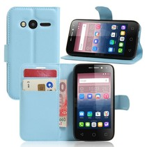 Blauw Litchi Bookcase Hoesje Alcatel One Touch Pixi 4 4